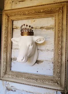 Faux Cow HeadFaux TaxidermyWhite Cow by ColorfulCastAndCrew
