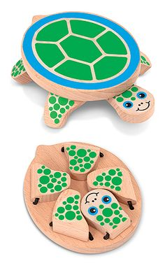 Peek-a-Boo Turtle Baby & Toddler Toy : Crafted from select hardwood and accented with child-safe dyes, First Play Peek-a-Boo Turtle wooden toy has four polka-dot legs that flap open, then snap back to their hiding place with a clack! Young toddlers and babies can develop concepts of object permanence as well as hand-eye coordination as they click the feet and head in and out, learning naturally through play.