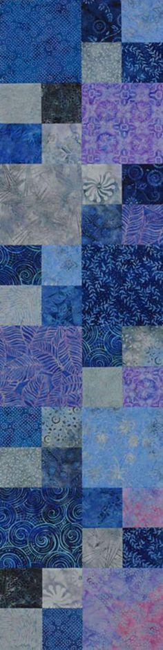 ❤ =^..^= ❤   Quilting Color Trend: Purple | AllPeopleQuilt.com |  Cool Four-Patch Runner  Cool purple and blue batik fabrics make a splash in an easy Four-Patch table runner.