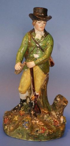 Antique Pearlware Staffordshire Pottery Figure Hunter