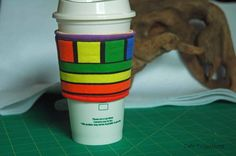 Rainbow Rows and Boxes - Coffee Sleeve #6 by CafeProjections on Etsy