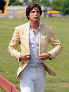 Khaki blazer, striped oxford, white jeans, pocket square; thisisnotnew.com