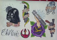 traditional retro star wars tattoo