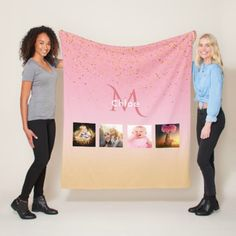 Unique photo collage on rose gold monogrammed fleece blanket - monogram gifts unique design style monogrammed diy cyo customize