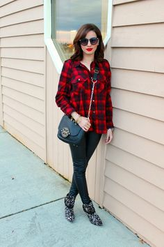 Forever 21 campfire plaid shirt, H&M leather pants, Kenneth Cole boots and Tory Burch bag