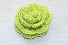 Irish Rose Brooch  Beautiful Light Green Crochet by BeyondCrochet