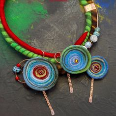 """Art necklace """"My Hundertwasser"""", based on picture """"You are a guest of nature. Behave."""" Made of wool, copper, hand painted beads, lampwork beads. Statement unique necklace. Instagram - Leslyfelt."""
