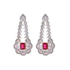 Happiness collection red color studded silver shimmer earrings for women dilan jewels