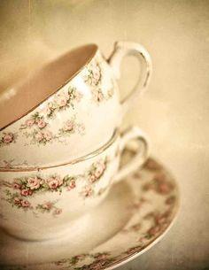 Still Life Photography, Kitchen Art, Wall Decor, Wall Hanging, Teacup Art, Pastel Colors, Cream - Tea Set
