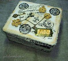 #365чай_фаранчук Все раздумывала, как все эти карточки оформить, в итоге получилась вот такая коробочка. Из-под чая, само собой 😊… Tea Bag Art, Decorative Boxes, Decorative Storage Boxes