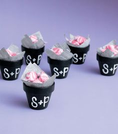 Michaels.com Wedding Department: BRIDES® Chalkboard Pot Favors Add a note of whimsy to your casual wedding. Fill BRIDES® miniature chalkboard pots with moss, attach floral embellishments to wooden dowels, and personalize with a chalk marker.
