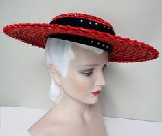 Vintage 1940s Hat//40s Hat//Red Hat//Old by VintageDiva60 on Etsy