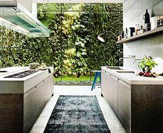 Modern kitchen looking out into a gorgeous vertical garden. Varenna by Poliform Small Modern Kitchens, Modern Kitchen Design, Interior Design Kitchen, Home Design, Cool Kitchens, Design Ideas, Minimal Kitchen, Kitchen Designs, Design Inspiration