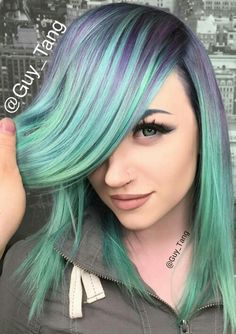 Beautiful hair by Guy Tang on Mykie from Glam and Gore. Love this smoky violet mint hair! Hair Dye Colors, Cool Hair Color, Pastel Colors, Purple Hair, Ombre Hair, Mint Hair, Purple Teal, Deep Purple, Dyed Hair Pastel