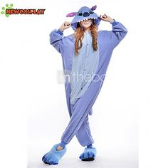 Kigurumi Pyjamas New Cosplay® / Stitch / Monster Gymnastikanzug/Einteiler Halloween Tiernachtwäsche Blau Patchwork Polar-Fleece Kigurumi 2016 - €24.98