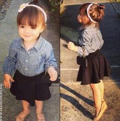 Cute 'lil girl with her skater skirt!