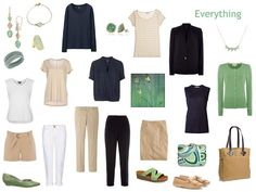 """Whatever's Clean 13"" Travel Capsule Wardrobe in Green, Navy and Beige"