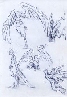 bocetos de un una mujer ave :)