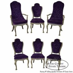 Vintage 1950s Hollywood Regency Set of 6 Paint Frame Upholstered Dining Chairs | Antiques, Furniture, Chairs | eBay!