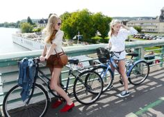 sisters on bicycles in Giverny