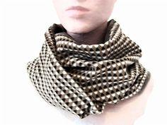 snood femme gris et beige tissu geometrique , echarpe infinie en velours et  jersey , tour 47004dd282c