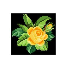 A yellow rose. Cross stitch pattern. Instant download.