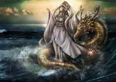 Mazu, Matsu orMa-tsu is the Chinese patron goddess who is said to protect seafarers, such as fishermen and sailors. She is widely worshiped in the coastal regions of China, especially in Zhejiang, Fujian, Guangdong, Tianjin and Hainan. Art by jefea zero