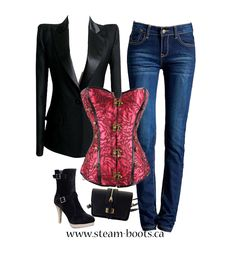Add a corset to a classic black suit jacket and a pair of skinny jeans for a sexy spin on a classic outfit! Corsets add contour and shape. Don't forget to add Parthena boots and a little black clutch to complete the look! #corset#parthena @Steam_Boots
