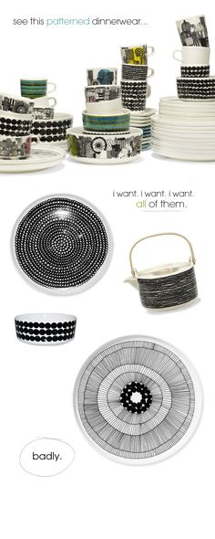 I want them all too. Beautiful & graphic dishes.
