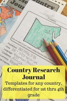 Super templates for simple research on any country. Different options for 1st thru 4th grade. This country research journal is a favorite for traditional, homeschool and Montessori classrooms.