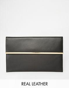 ASOS+Leather+Slim+Envelope+Clutch+Bag