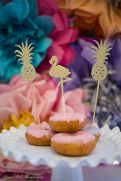 Gold Glitter Cake Topper  Pineapples and Framingo by EMTsweeetie