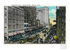 Detroit, Michigan - Woodward Avenue South Scene Art Print by Lantern Press at Art.com from vintage photo or postcard