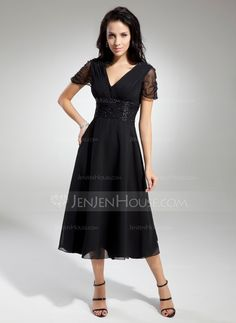 A-Line/Princess V-neck Tea-Length Chiffon Tulle Mother of the Bride Dress With Ruffle Beading (008014919) - JenJenHouse