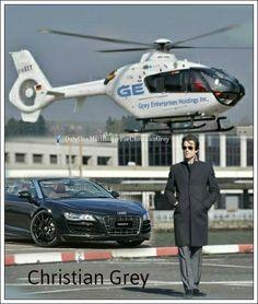Christian Grey, Charlie Tango (by fiftyshadesmovie.org)  and Audi R8 Spyder
