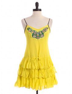 Yellow Silk Ruffled Dress by Free People - Size XS - $32.95 on LikeTwice.com