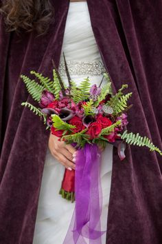 red and purple wedding bouquet, wedding flowers, purple ribbon and bouquet, Spring Wedding Bouquets, Winter Bouquet, Fall Bouquets, Spring Bouquet, Flower Bouquet Wedding, Floral Wedding, Storybook Wedding, Wedding Book, Wedding Ideas