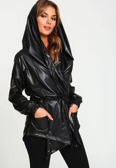 Leatherette Wraparound Hooded Anorak Jacket,