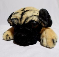 Realistic Pug Plush Laying Down Dog 15 Inches Cute Lying Puppy #Unbranded