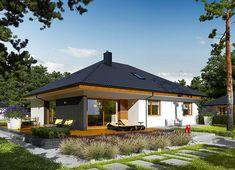 Projekt domu Astrid II G2 (mała) energo 99,44 m² - koszt budowy - EXTRADOM Bungalow House Plans, Home Design Plans, Log Homes, Malaga, Gazebo, Living Spaces, Exterior, House Design, Outdoor Structures