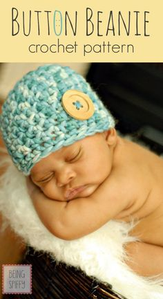 Newborn Button Beanie Crochet Pattern - Home - beingspiffy ~ free pattern
