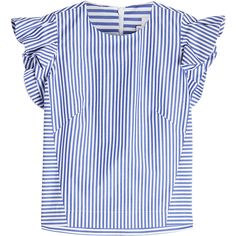 Stella Jean Striped Cotton Sleveless Blouse (€235) ❤ liked on Polyvore featuring tops, blouses, stripes, blue top, sleeveless cotton blouse, blue striped blouse, cotton blouse and striped top