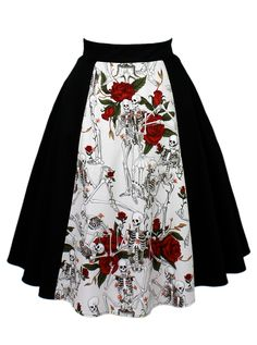"Women's ""Skulls and Roses"" Full Circle Skirt by Hemet (Black) #InkedShop #skulls #roses #skirt #style #fashion #womenswear"