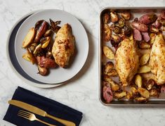 """This easy mustard chicken recipe scratches the """"roast chicken and potatoes"""" itch in half the time. Serve it plain or with a simple green salad, and try subbing bone-in, skin-on thighs for the breasts."""