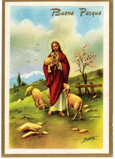Immagine correlata Vintage Holy Cards, Vintage Greeting Cards, Vintage Postcards, Christ The Good Shepherd, Pictures Of Christ, Easter Religious, Christian Images, Easter Pictures, Easter Art