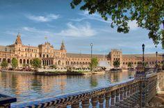 Plaza de España y canal. Seville, Spain.