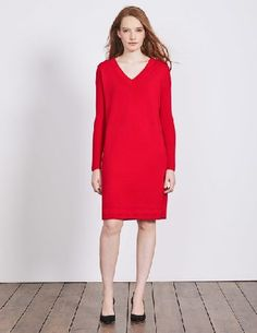 #Boden Riley Knitted Dress Post Box Red Women Boden, #This flattering, versatile  jumper dress is our solution to everything. Running late? Throw this on with a belt and heels to look the part, fast. On the go all day? The relaxed cut and side split are just the thing.