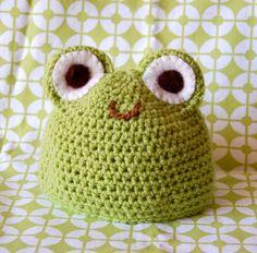 Fun baby crochet frog hat. Divertido gorro a crochet de sapito.
