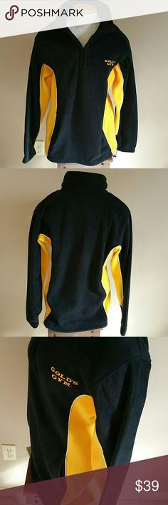 """JUST IN! Men's GOLD'S GYM 1/2 ZIP FLEECE. Sm NWT Gold's Gym men""""s half zip pullover polar fleece. Two front pockets, drawstring pockets. Great for after your workout. Unisex. Measurements are.......27"""" length, bust approx 40"""", sleeves approx. 24"""". Black and gold. Ladies medium/large. New with tag. Never worn. Gold's Gym Jackets & Coats Lightweight & Shirt Jackets"""