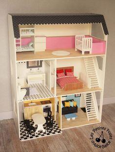Après la structure ( ici et ici ) et la déco ( ici et ici ) de la maison de Barbie, il est maintenant temps que vous découvriez enfin la maison meublée !! :D Comme je suis un peu dingue et que je n'avais pas envie que Barbie n'ait que des meubles roses...